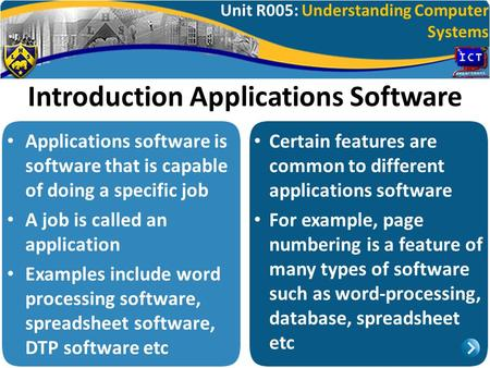 Unit R005: Understanding Computer Systems Introduction Applications Software Applications software is software that is capable of doing a specific job.