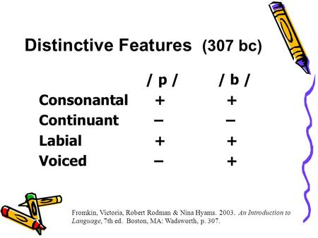 Distinctive Features (307 bc) / p // b / Consonantal+ + Continuant– – Labial+ + Voiced– + Fromkin, Victoria, Robert Rodman & Nina Hyams. 2003. An Introduction.
