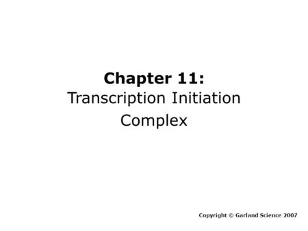 Chapter 11: Transcription Initiation Complex Copyright © Garland Science 2007.