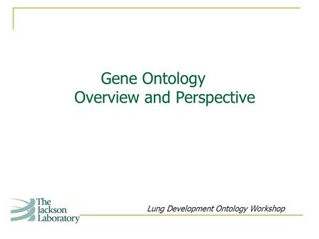 Gene Ontology Overview and Perspective Lung Development Ontology Workshop.