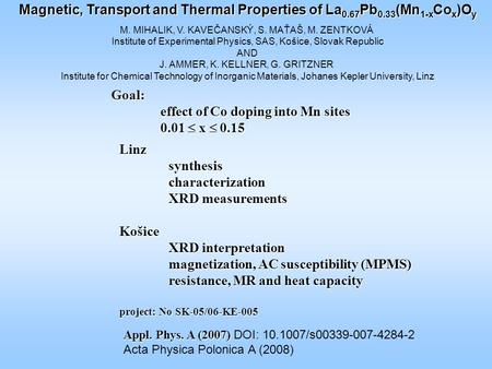 Magnetic, Transport and Thermal Properties of La 0.67 Pb 0.33 (Mn 1-x Co x )O y M. MIHALIK, V. KAVEČANSKÝ, S. MAŤAŠ, M. ZENTKOVÁ Institute of Experimental.