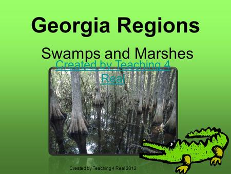 Georgia Regions Swamps and Marshes Created by Teaching 4 Real Created by Teaching 4 Real 2012.