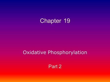 Oxidative Phosphorylation Part 2 Chapter 19. Oxidative Phosphorylation Part 2 Key Topics: To Know 1.How cells deal with reactive oxygen species (ROS).