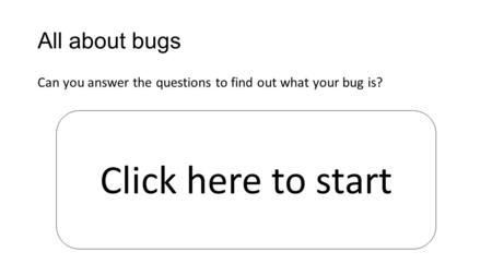 All about bugs Can you answer the questions to find out what your bug is? Click here to start.
