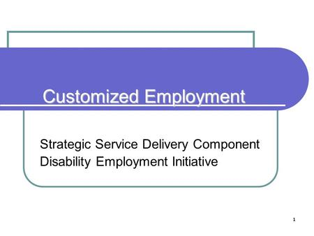 1 Customized Employment Strategic Service Delivery Component Disability Employment Initiative.