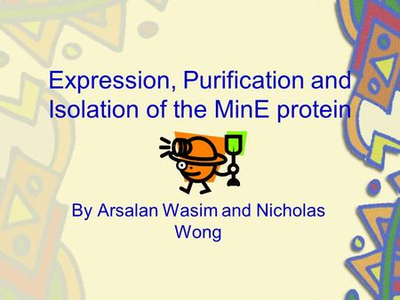 Expression, Purification and Isolation of the MinE protein By Arsalan Wasim and Nicholas Wong.