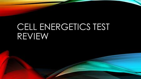 Cell Energetics Test Review