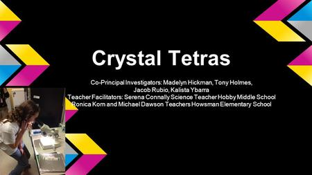 Crystal Tetras Co-Principal Investigators: Madelyn Hickman, Tony Holmes, Jacob Rubio, Kalista Ybarra Teacher Facilitators: Serena Connally Science Teacher.