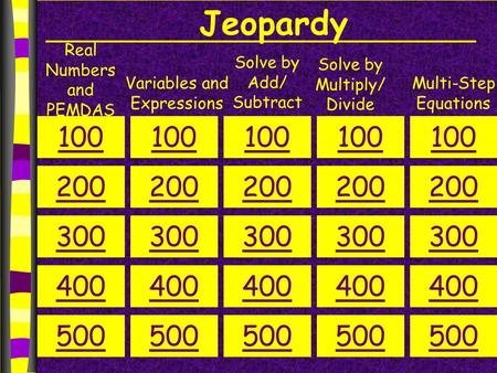 Jeopardy Real Numbers and PEMDAS Variables and Expressions Solve by Add/ Subtract Solve by Multiply/ Divide Multi-Step Equations 100 200 300 400 500 100.