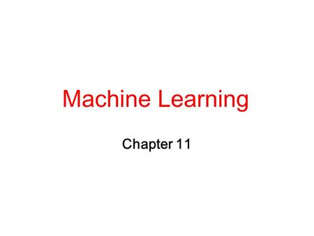 Machine Learning Chapter 11.