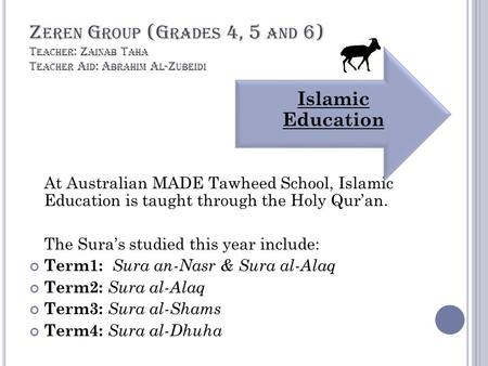 Z EREN G ROUP (G RADES 4, 5 AND 6) T EACHER : Z AINAB T AHA T EACHER A ID : A BRAHIM A L -Z UBEIDI At Australian MADE Tawheed School, Islamic Education.