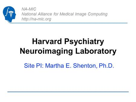 NA-MIC National Alliance for Medical Image Computing  Harvard Psychiatry Neuroimaging Laboratory Site PI: Martha E. Shenton, Ph.D.