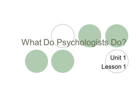 What Do Psychologists Do? Unit 1 Lesson 1. Objectives: Students will recognize that psychology has many subfields that emphasize both research and application.