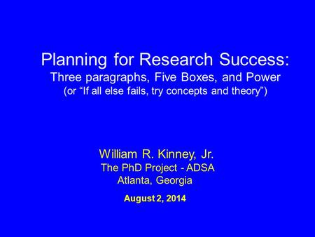 Planning for Research Success:
