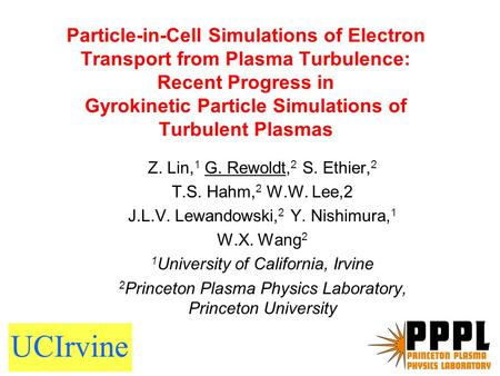Particle-in-Cell Simulations of Electron Transport from Plasma Turbulence: Recent Progress in Gyrokinetic Particle Simulations of Turbulent Plasmas Z.