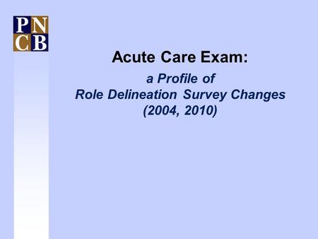 Acute Care Exam: a Profile of Role Delineation Survey Changes (2004, 2010)