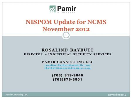ROSALIND BAYBUTT DIRECTOR – INDUSTRIAL SECURITY SERVICES PAMIR CONSULTING LLC  (703) 319-9646.