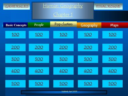 Updated: April 2009 Human Geography Chapter 1 Basic Concepts Maps Pop clusters Geography People 100 200 300 400 500 100 200 300 400 500 GAME RULESFINAL.