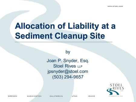Allocation of Liability at a Sediment Cleanup Site by Joan P. Snyder, Esq. Stoel Rives LLP (503) 294-9657.