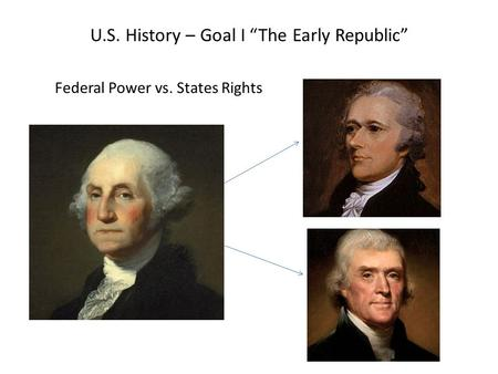 "U.S. History – Goal I ""The Early Republic"" Federal Power vs. States Rights."