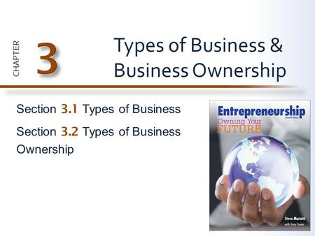 CHAPTER Section 3.1 Types of Business Section 3.2 Types of Business Ownership Types of Business & Business Ownership.
