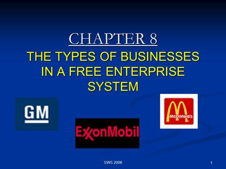 SWS 2006 1 CHAPTER 8 THE TYPES OF BUSINESSES IN A FREE ENTERPRISE SYSTEM.