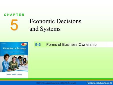 © 2012 Cengage Learning. All Rights Reserved. Principles of Business, 8e C H A P T E R 5 SLIDE 1 5-2 5-2Forms of Business Ownership 5 C H A P T E R Economic.
