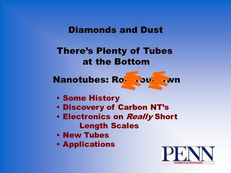 Diamonds and Dust Some History Discovery of Carbon NT's Electronics on Really Short Length Scales New Tubes Applications There's Plenty of Tubes at the.