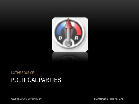 POLITICAL PARTIES 4.3 THE ROLE OF GOVERNMENT & CITIZENSHIP TIMPANOGOS HIGH SCHOOL.