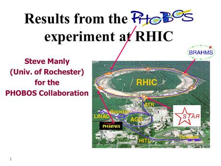 1 - S. Manly, Univ. of Rochester APS - Washington D.C. - April 2001 Results from the PHOBOS experiment at RHIC Steve Manly (Univ. of Rochester) for the.