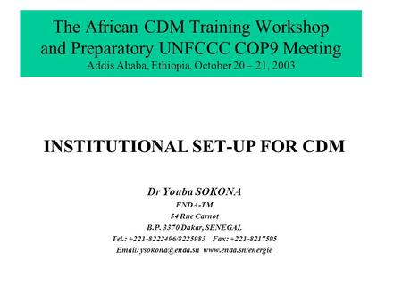 The African CDM Training Workshop and Preparatory UNFCCC COP9 Meeting Addis Ababa, Ethiopia, October 20 – 21, 2003 INSTITUTIONAL SET-UP FOR CDM Dr Youba.