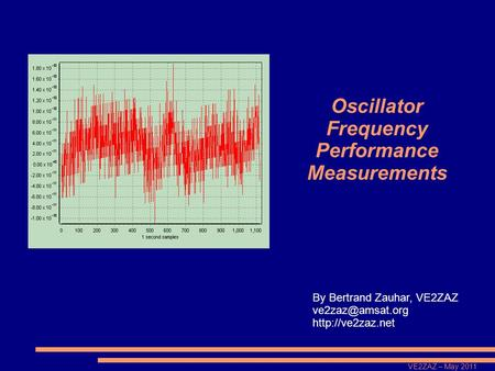 VE2ZAZ – May 2011 Oscillator Frequency Performance Measurements By Bertrand Zauhar, VE2ZAZ
