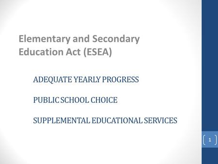 ADEQUATE YEARLY PROGRESS PUBLIC SCHOOL CHOICE SUPPLEMENTAL EDUCATIONAL SERVICES Elementary and Secondary Education Act (ESEA) 1.
