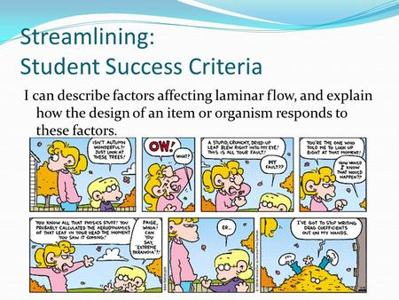 Streamlining: Student Success Criteria I can describe factors affecting laminar flow, and explain how the design of an item or organism responds to these.