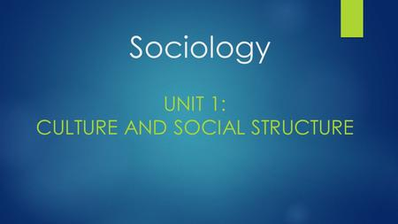 Sociology UNIT 1: CULTURE AND SOCIAL STRUCTURE. Chapter 1: The Sociological Point of View.