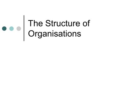 The Structure of Organisations. Organisation Internal, formal framework How authority is transmitted Often evolves.
