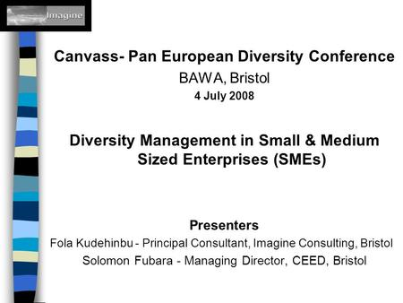 Canvass- Pan European Diversity Conference BAWA, Bristol 4 July 2008 Diversity Management in Small & Medium Sized Enterprises (SMEs) Presenters Fola Kudehinbu.