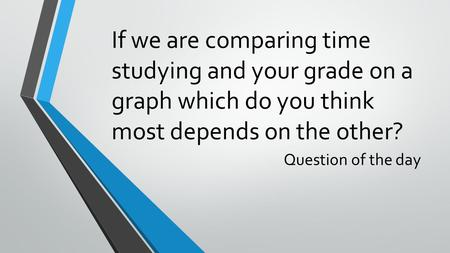 If we are comparing time studying and your grade on a graph which do you think most depends on the other? Question of the day.