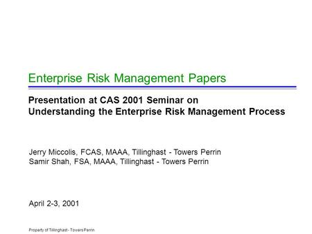 Risk management trends and developments paper