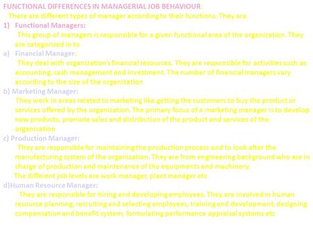 FUNCTIONAL DIFFERENCES IN MANAGERIAL JOB BEHAVIOUR: