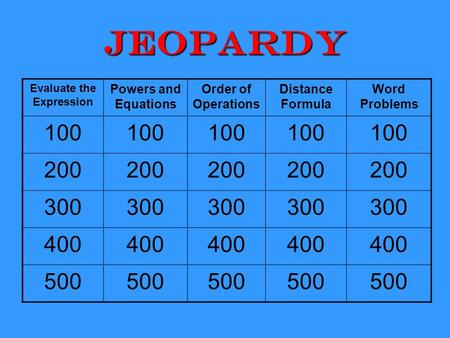 Jeopardy Evaluate the Expression Powers and Equations Order of Operations Distance Formula Word Problems 100 200 300 400 500.