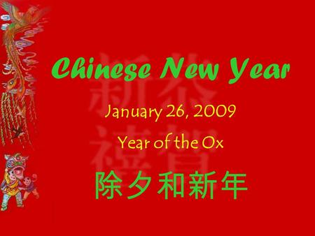 Chinese New Year January 26, 2009 Year of the Ox 除夕和新年.