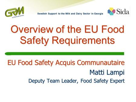 Overview of the EU Food Safety Requirements