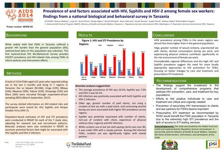 HIV prevalence among FSWs in the seven regions was almost five times higher than in the general population. Age, greater number of sexual contacts, unprotected.