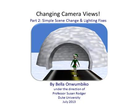 Changing Camera Views! Part 2: Simple Scene Change & Lighting Fixes By Bella Onwumbiko under the direction of Professor Susan Rodger Duke University July.
