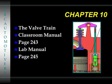 CHAPTER 10 u The Valve Train u Classroom Manual u Page 243 u Lab Manual u Page 245 CBCAUTOMOTIVERKCBCAUTOMOTIVERK.