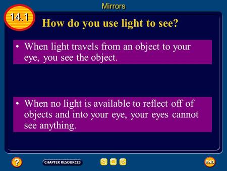 When light travels from an object to your eye, you see the object. How do you use light to see? 14.1 Mirrors When no light is available to reflect off.