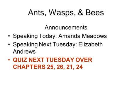 Ants, Wasps, & Bees Announcements Speaking Today: Amanda Meadows Speaking Next Tuesday: Elizabeth Andrews QUIZ NEXT TUESDAY OVER CHAPTERS 25, 26, 21, 24.