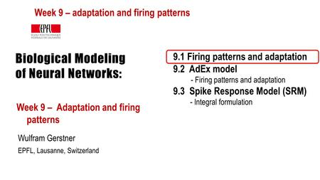 Biological Modeling of Neural Networks: Week 9 – Adaptation and firing patterns Wulfram Gerstner EPFL, Lausanne, Switzerland 9.1 Firing patterns and adaptation.