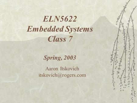 ELN5622 Embedded Systems Class 7 Spring, 2003 Aaron Itskovich